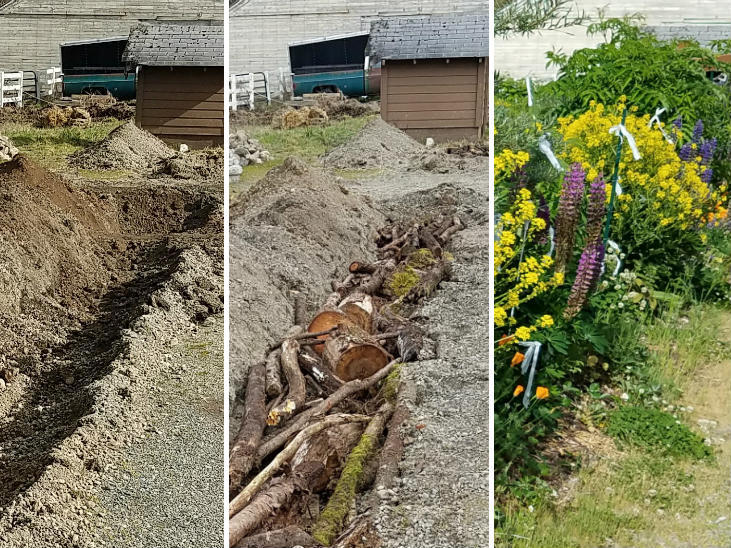 Partially buried hugelkultur variation is great for dry climates